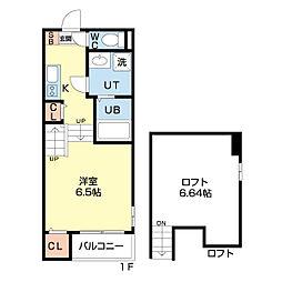 仙台市営南北線 長町駅 徒歩13分の賃貸アパート 2階1Kの間取り
