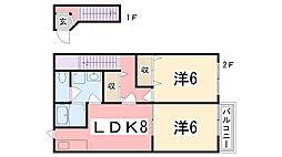 兵庫県神戸市西区上新地1丁目の賃貸アパートの間取り