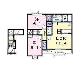 井原鉄道 いずえ駅 徒歩5分の賃貸アパート 2階2LDKの間取り