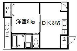 サンハウス紫野[101号室]の間取り