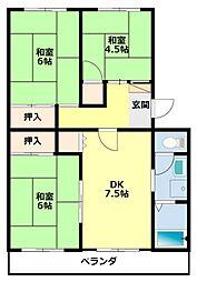 愛知県豊田市美里2丁目の賃貸マンションの間取り