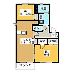 ヴィラージュアイA[1階]の間取り