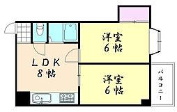 シャトー映光鶴橋[405号室]の間取り