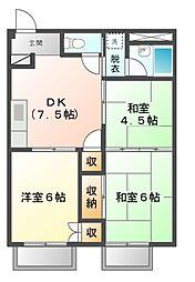 愛知県愛知郡東郷町御岳1丁目の賃貸アパートの間取り