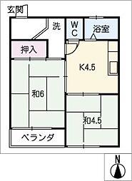 横井マンション[2階]の間取り
