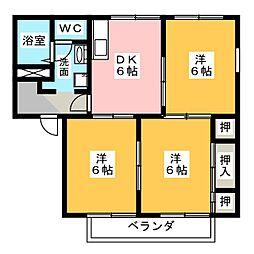 ガーデンハイツD[1階]の間取り