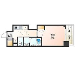 JR阪和線 美章園駅 徒歩6分の賃貸マンション 2階1Kの間取り