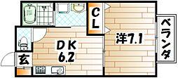福岡県北九州市小倉南区田原新町3丁目の賃貸アパートの間取り