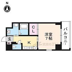 Lui ChanceIII 4階1Kの間取り