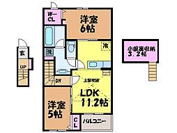愛媛県松山市星岡4丁目の賃貸アパートの間取り