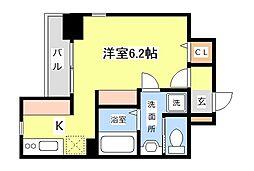 JR京浜東北・根岸線 川崎駅 バス13分 浜町3丁目下車 徒歩1分の賃貸マンション 6階ワンルームの間取り