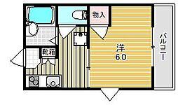 大阪府高槻市明田町の賃貸アパートの間取り