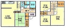阪南市光陽台3丁目 中古戸建 4LDKの間取り