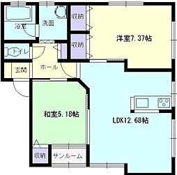 秋田県大仙市佐野町の賃貸アパートの間取り