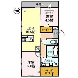大阪府東大阪市六万寺町1丁目の賃貸アパートの間取り