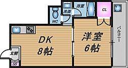 大阪府大阪市北区長柄西2の賃貸マンションの間取り