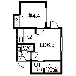 ブランノワールKILTA[1階]の間取り