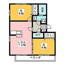 愛知県海部郡蟹江町源氏3丁目の賃貸アパートの間取り