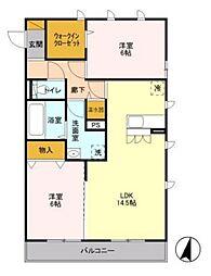 ルーフハウス B[2階]の間取り