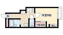 愛知県名古屋市瑞穂区竹田町4丁目の賃貸アパートの間取り