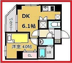 テラス東浅草 6階1DKの間取り