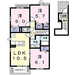 長野西アパートA[0205号室]の間取り