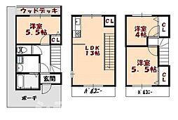 [テラスハウス] 大阪府大阪市阿倍野区播磨町3丁目 の賃貸【/】の間取り