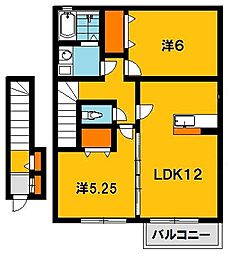 栃木県宇都宮市宮の内4丁目の賃貸アパートの間取り