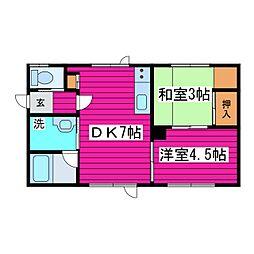 札幌市営東豊線 栄町駅 5.9kmの賃貸アパート 1階2DKの間取り