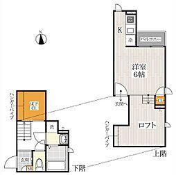 東武野田線 北大宮駅 徒歩7分の賃貸アパート 1階1Kの間取り