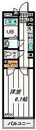 JR京浜東北・根岸線 浦和駅 徒歩11分の賃貸マンション 4階1Kの間取り
