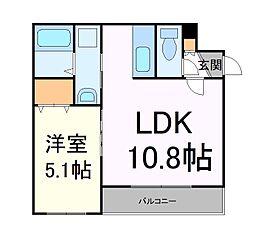 札幌市営東西線 二十四軒駅 徒歩18分の賃貸マンション 3階1LDKの間取り