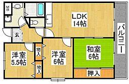 メゾンアベニール 3階3LDKの間取り
