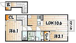 福岡県北九州市小倉南区朽網東5丁目の賃貸アパートの間取り