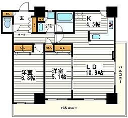 カスタリアタワー長堀橋[12階]の間取り