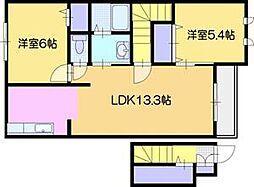 北海道岩見沢市北二条西20丁目の賃貸アパートの間取り