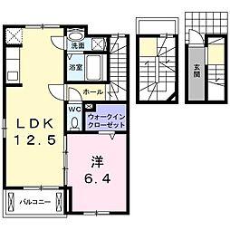 茨城県取手市戸頭8丁目の賃貸アパートの間取り