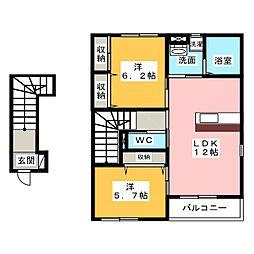 愛知県弥富市五明4丁目の賃貸アパートの間取り