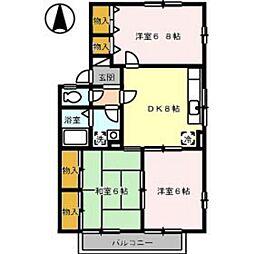 エクレール西田B棟[2階]の間取り