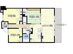 阪急千里線 南千里駅 徒歩5分の賃貸マンション 2階3LDKの間取り