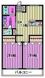 第二須賀ハイツ[203号室]の間取り