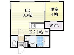札幌市営東西線 西28丁目駅 徒歩4分の賃貸マンション 5階1LDKの間取り