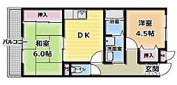 ガーデンハイツC[1階]の間取り