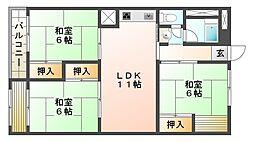 上高丸北住宅[3階]の間取り