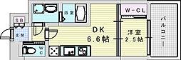 阪急宝塚本線 三国駅 徒歩5分の賃貸マンション 8階1DKの間取り