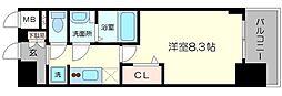 プレサンス心斎橋ソレイユ 5階1Kの間取り