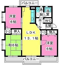 コムフォート秋桜[4階]の間取り