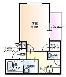 ラフィーネ聖天坂Ⅵ[1階]の間取り