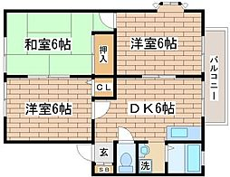 兵庫県神戸市須磨区車字下大道の賃貸アパートの間取り