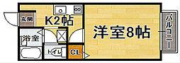 福岡県福岡市中央区今川1丁目の賃貸マンションの間取り